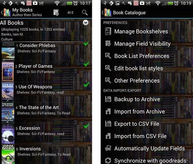 sammel apps book catalogue screenshot