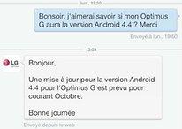Optimus G : LG aurait confirmé la version Android KitKat pour octobre