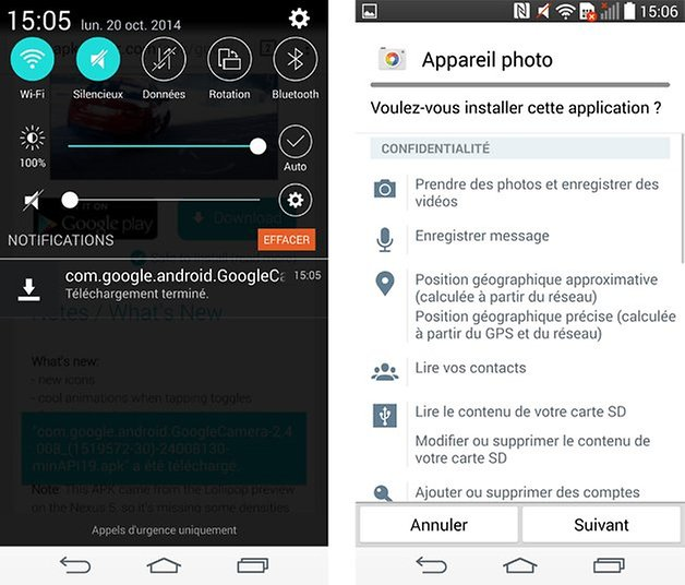 appareil photo android lollipop