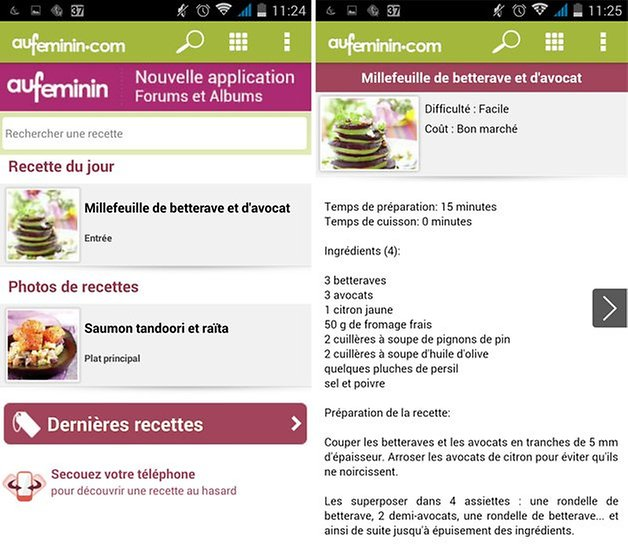 aufeminin cuisine application