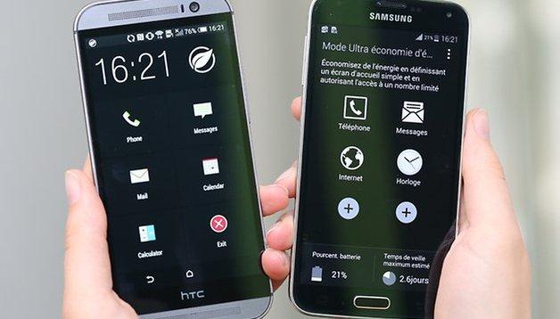 Galaxy S5 vs HTC One (M8) : comparatif des modes économie d'énergie
