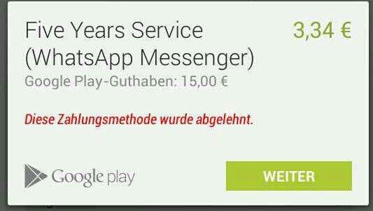 whatsapp zahlungsmethode
