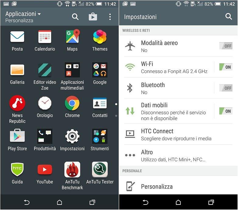 HTC One A9 interfaccia sense