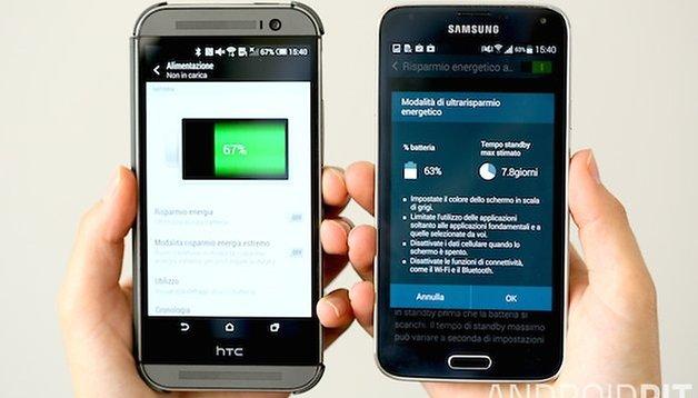 Samsung Galaxy S5 vs. HTC One M8: il risparmio energetico estremo