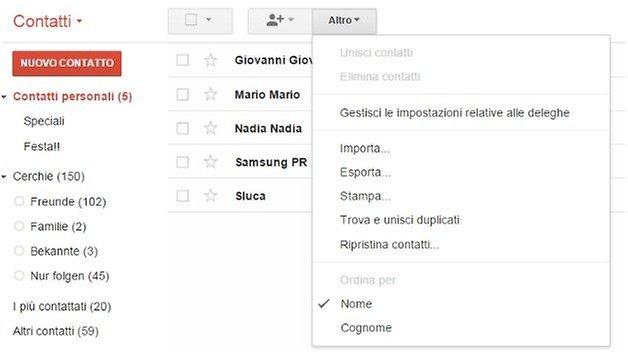 contatti gmail itunes