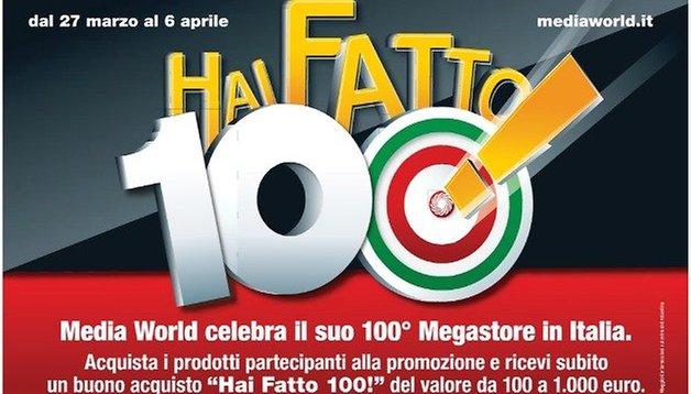 Mediaworld festeggia i 100 negozi con 100 euro di sconto per tutti!