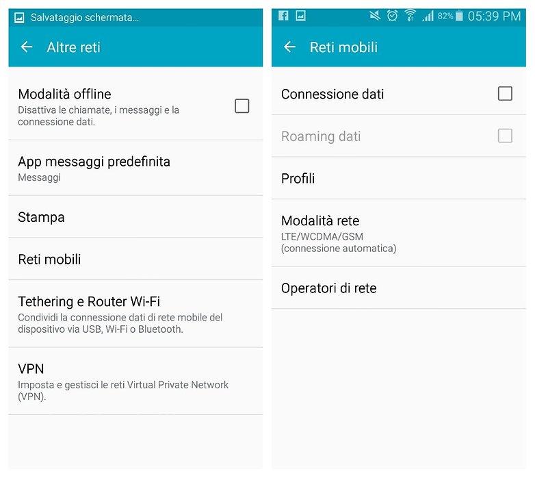 roaming dati IT impostazioni