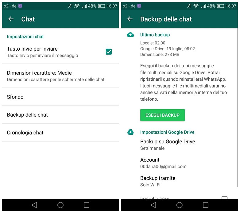whatsapp backup italiano