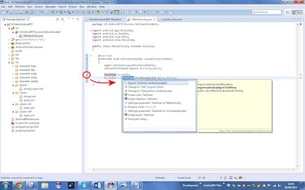 app tutorial 3 classe import