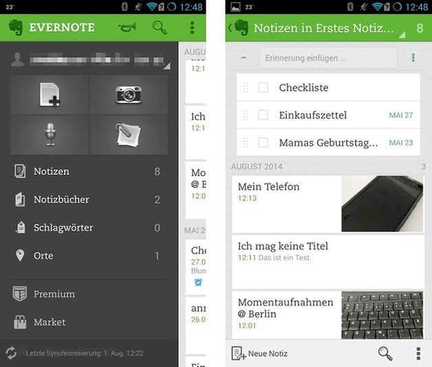 evernote interface vergleich