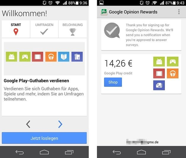 google play rewards umfrage app