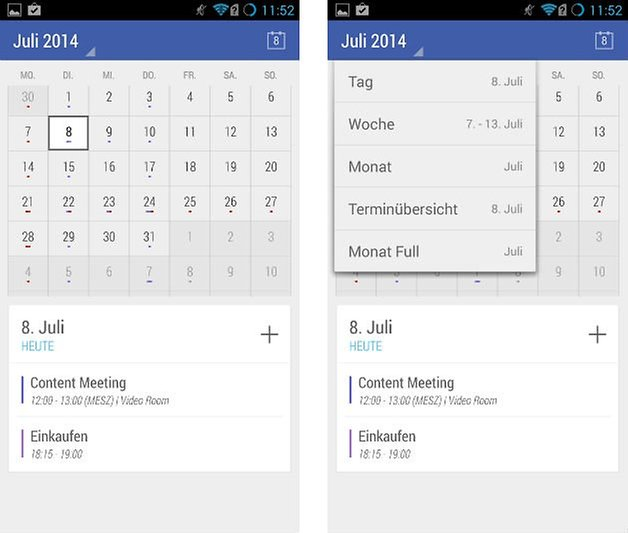 today calendar interface