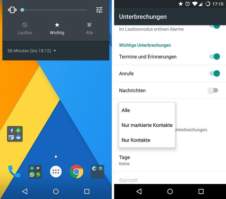 android unterbrechungen einstellungen