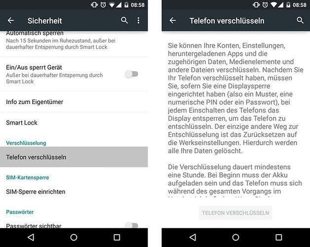 android 50 lollipop telefon verschluesseln