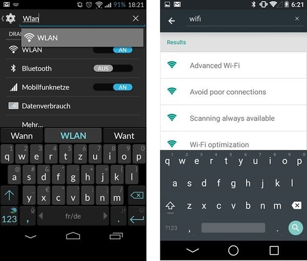 android L cyanogenmod settings search