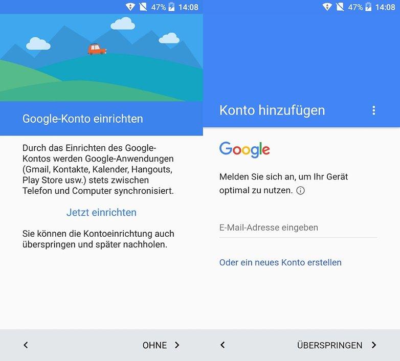 android einrichten google konto