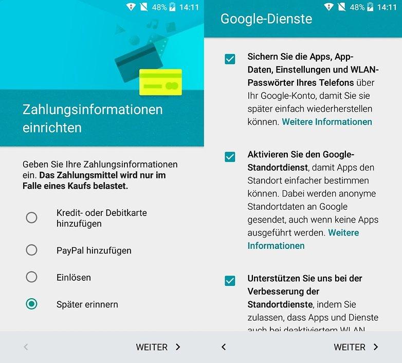 android einrichten zahlung dienste