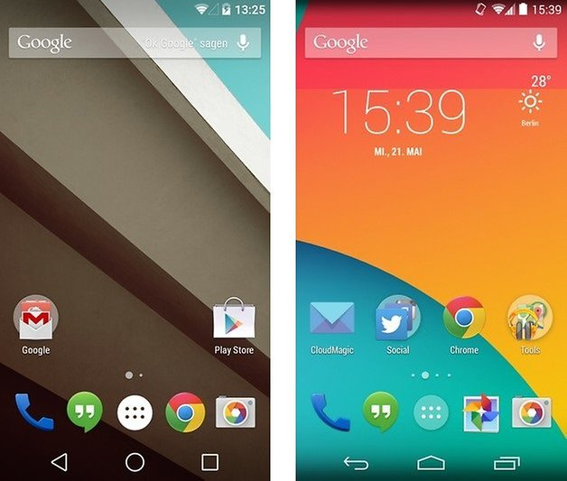 android l kitkat homescreen