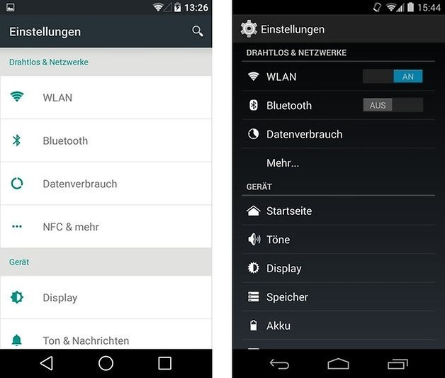 android l kitkat settings