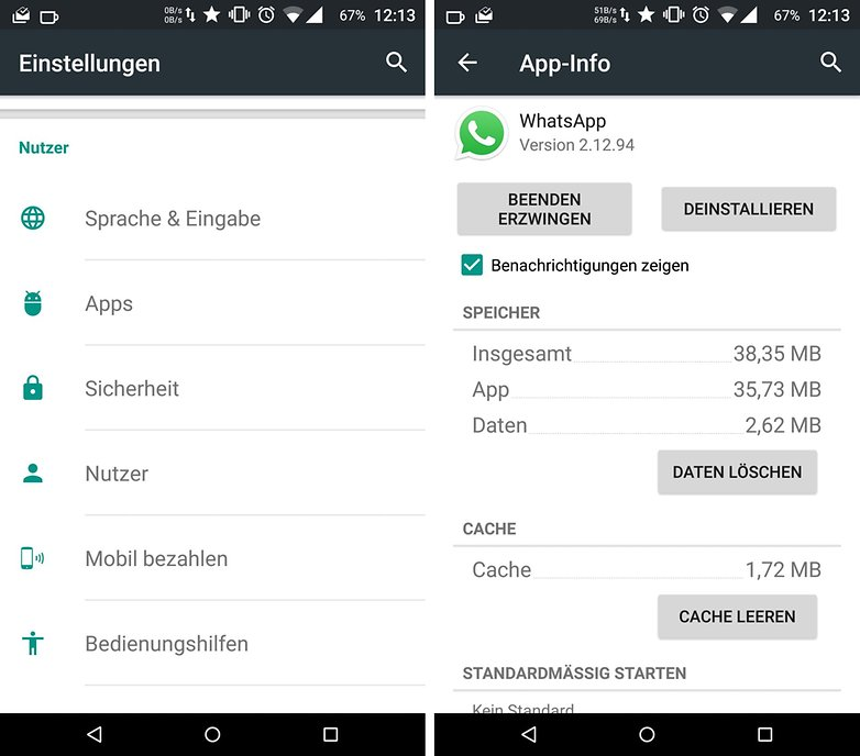 android whatsapp reset cache de