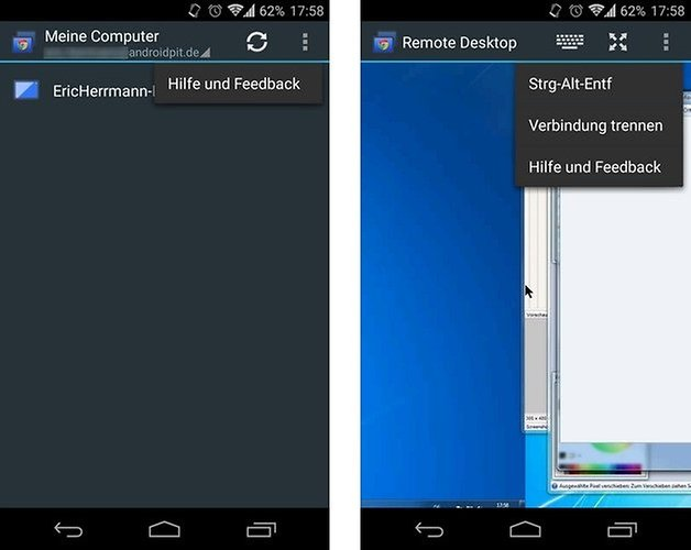 chrome remote desktop android interface