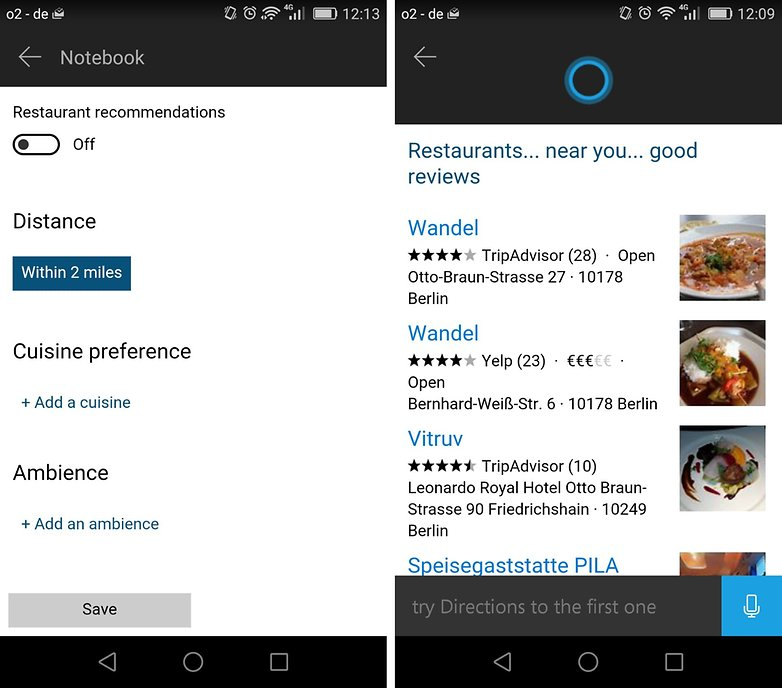 cortana for android search categories