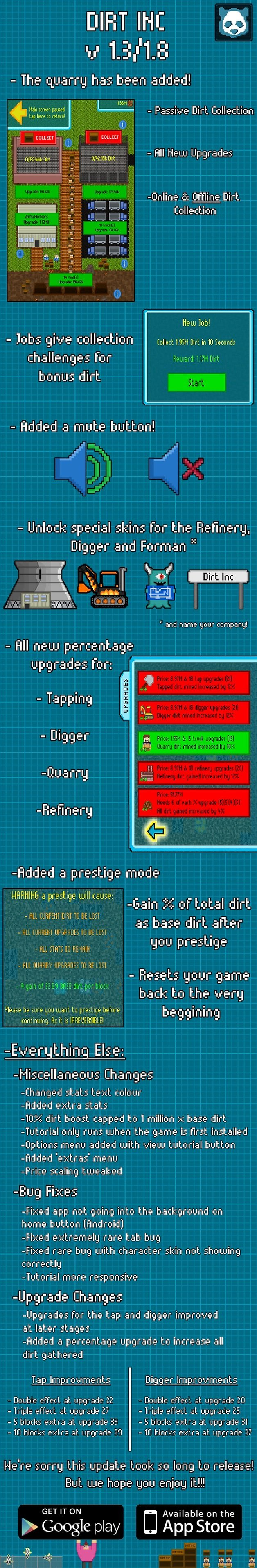 dirt inc 1 8 update