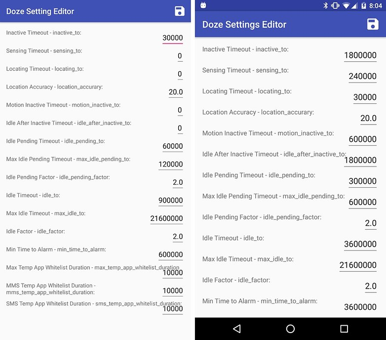 doze settings editor