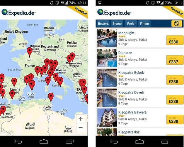 expedia map hotels