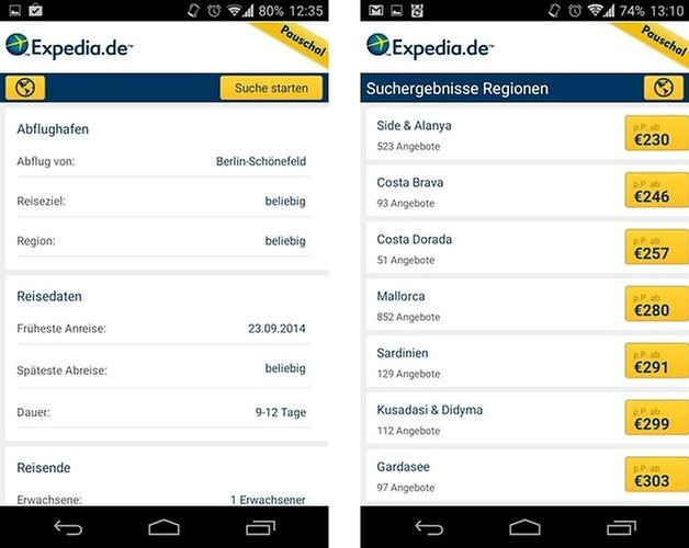 expedia search result