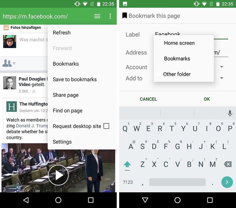 facebook web app bookmark aosp browser de