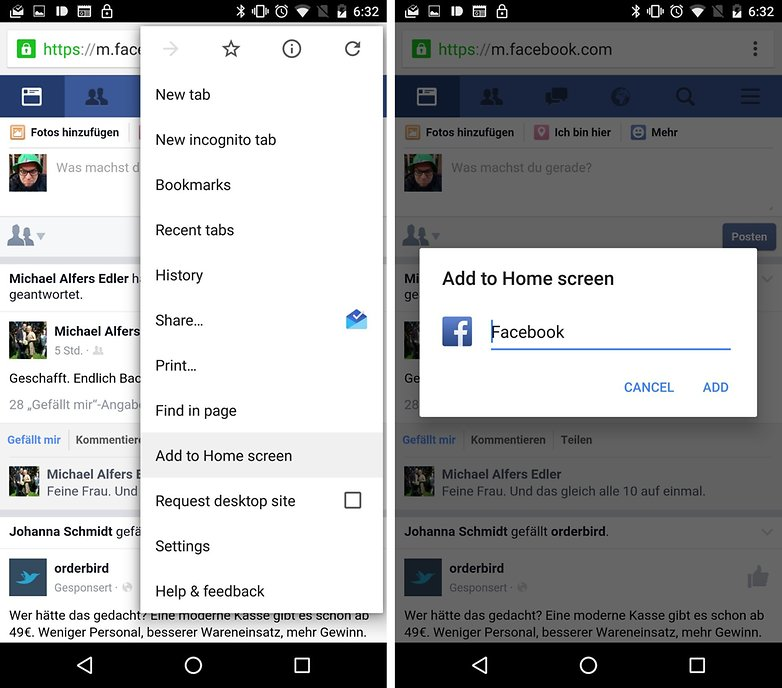facebook web app bookmark chrome browser de