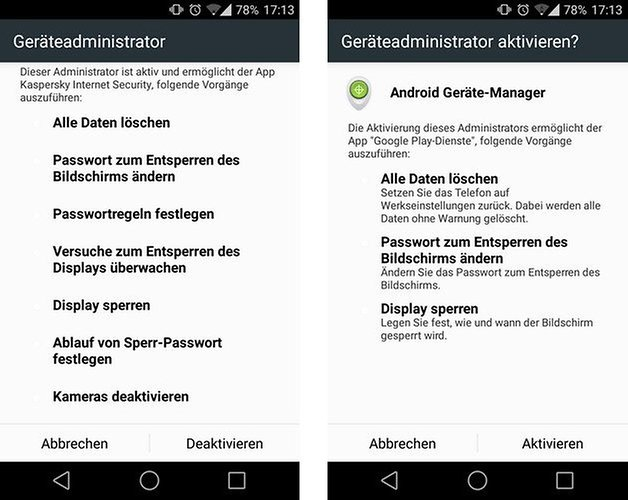 kaspersky device admin german