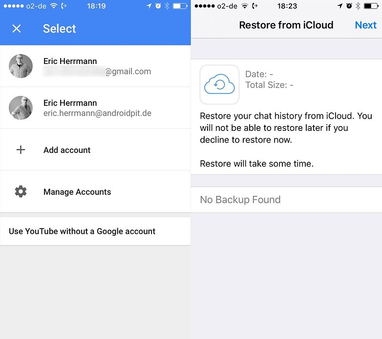account restore google vs whatsapp ios