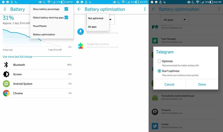 android battery optimizations 2017