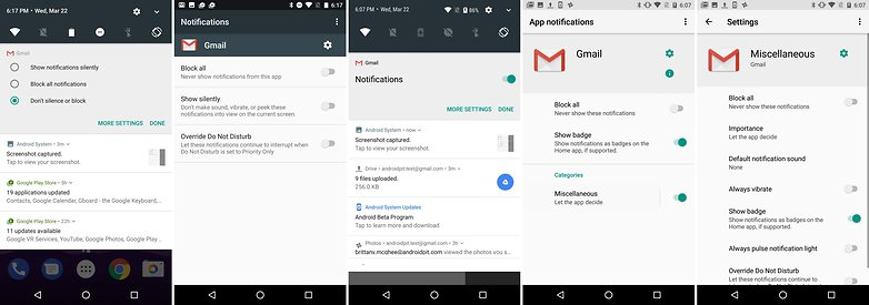 android n vs android o comparison notifications