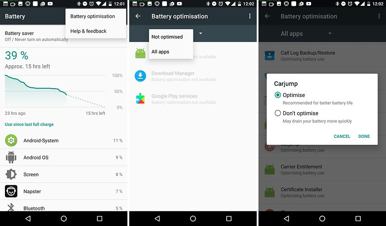 android nougat battery optimization