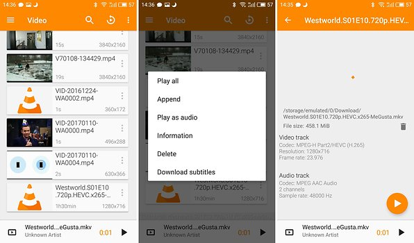 Video-Player für Android: VLC, MX-Player und Kodi spielen