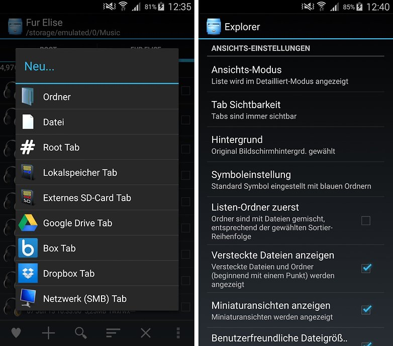 android explorer new tab de