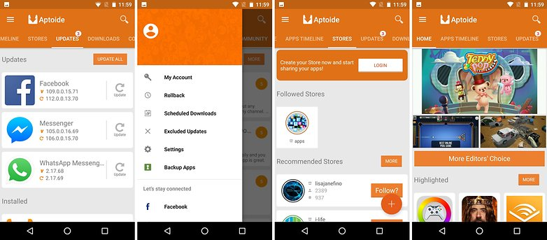aptoide menu updates home login