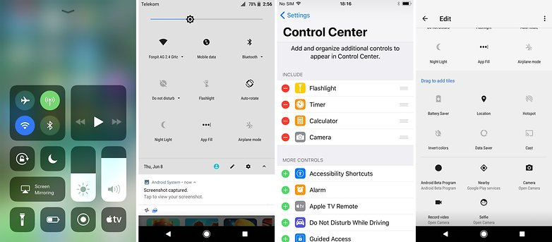 control center vs quick settings