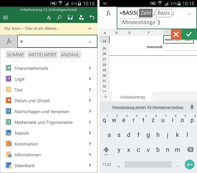 excel for android edit formula de