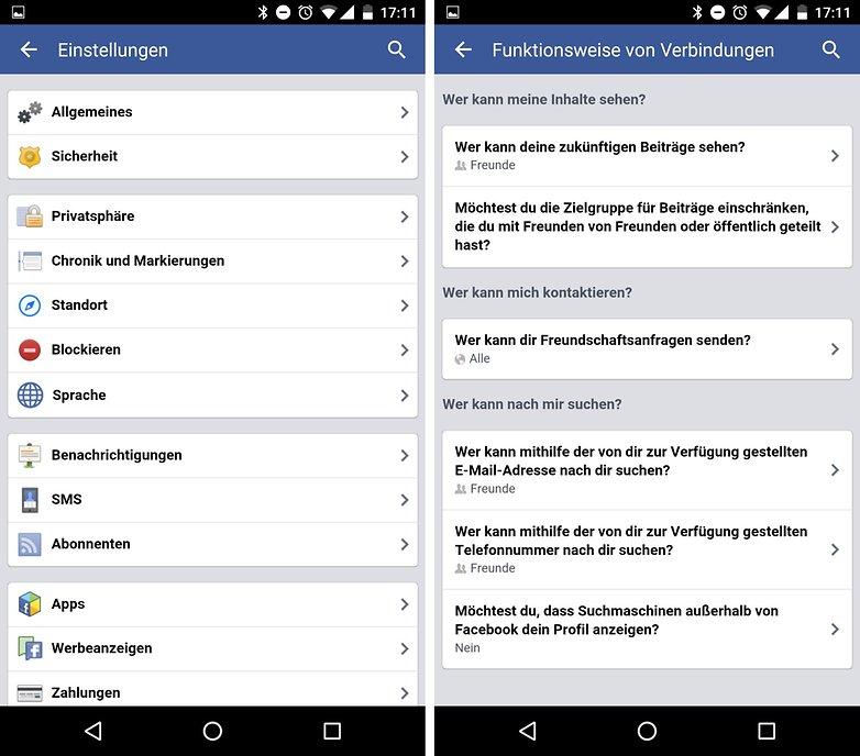 facebook privacy settings de
