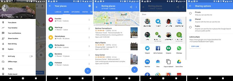 google maps share list