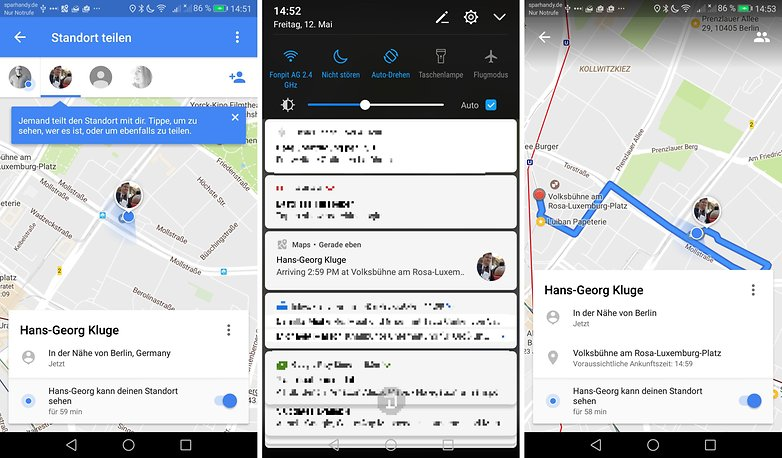 google maps watch location sharing de