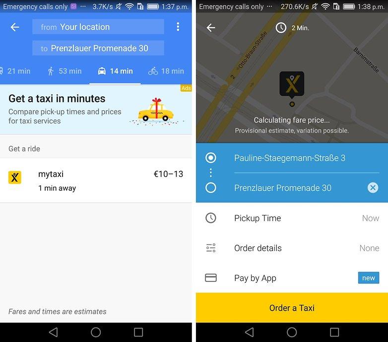 google maps mytaxi integration