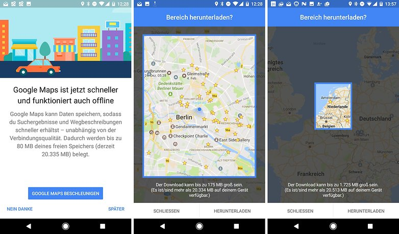 google maps offline download area de