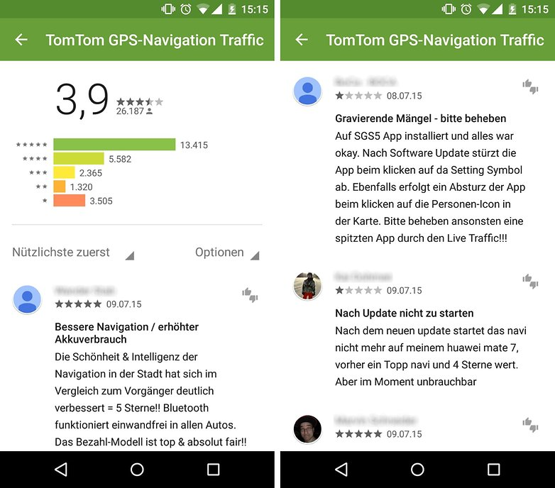 google play store one star rating de