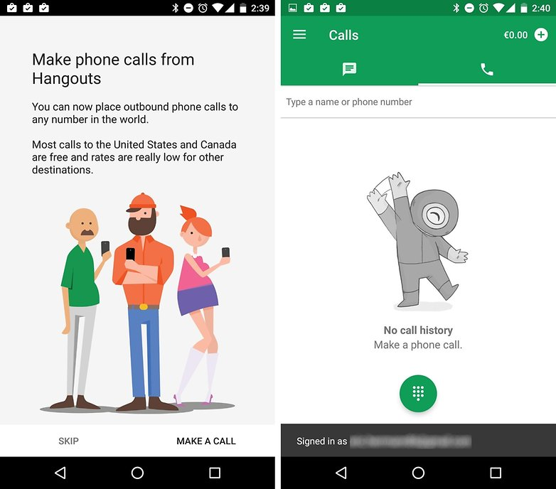 hangouts dialer make calls blurred