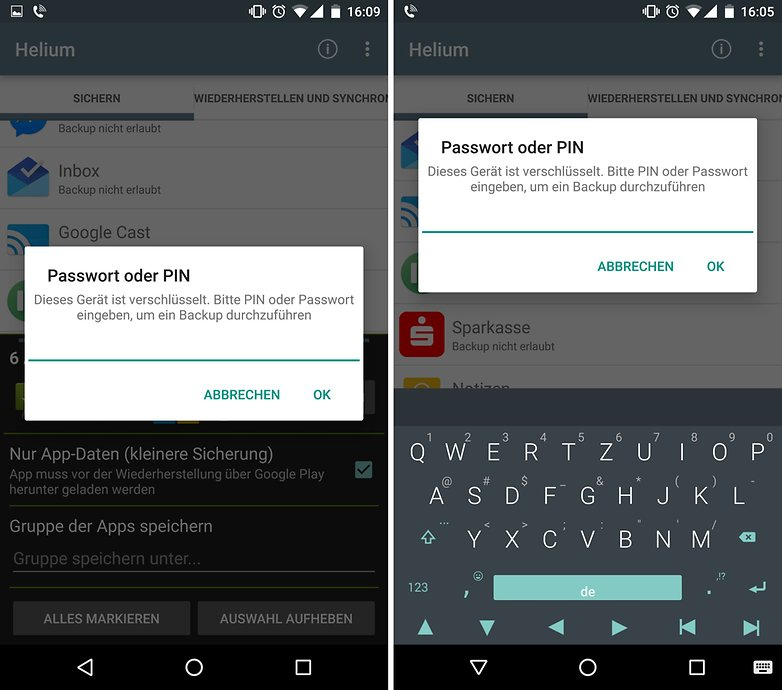 helium backup password keyboard bug de